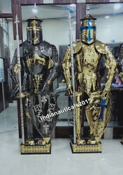 New Medieval Knight Suit Of Full Body Stainless Templar Warrior Costume Set Of 2