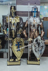 Medieval Knight Suit Of Armor 17th Century Combat Full Body Halloween Set Of 2