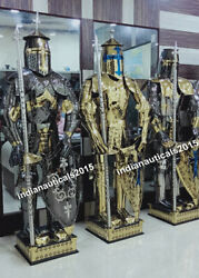 Vintage Sty Medieval Knight Suit Of Armor 15th Century Combat Full Body Set Of 3