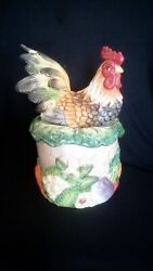Fitz And Floyd Country Road Rooster Large Cookie Jar / Cannister 11 1/2 Rare