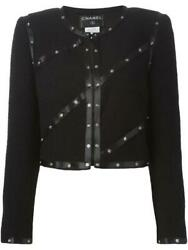 2003 Fall 03a Snap Collection Black Cropped Boucle Jacket Fr 42 Us 4/6/8