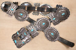 Michael Rogers Navajo Sterling Silver With Turquoise Concho Belt Dgdd Cx459a