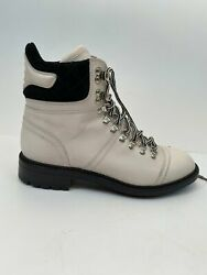 Black White Logo Lace Up Fall Winter Combat Ankle Boots Eu 36.5 Us 6