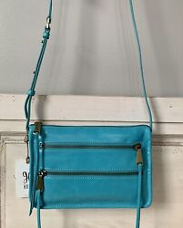 NWT Hobo International Mission Leather Crossbody Bag Purse Turquoise RP $168 $68.95