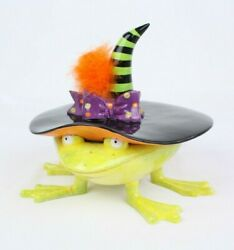 Department 56 Frog Witch Hat Lid Halloween Patience Brewster Candy Dish Bowl
