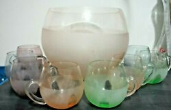 Mid Century Modern Pastel Punch Set With 8 Different Colored Pastel Handled Cups