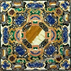 48 Inch Marble Hotel Table Top Handmade Multi Color Coffee Table With Mosaic Art