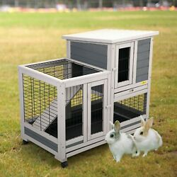 37quot; Wheeled Rabbit Hutch Small Chicken Coop Hen Small Animal House Pet Cage Pets