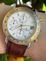 Baume And Mercier Baumatic Watch Chronograph Automatic Gold 18k And Steel Mens 37mm