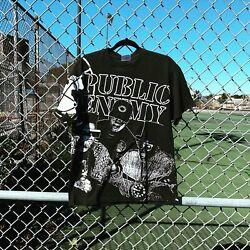 Rare Vintage 1991 Public Enemy Rap Tee All Over Print Single Stitched Usa