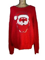 No Boundaries Ugly Christmas Sweater Fuzzy Sequins Santa Womens Size Xl