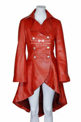 Ladies Rock Star Edwardian Washed Real Leather Laced Red Gothic Jacket Coat