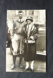 E46 Vintage Real Photo Capt. Charles A. Lindbergh Post Card W/ Mother