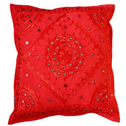 Rajasthani Embroidered Vintage Cushion Cover Mirror Pillow Cover 16 Home Decor