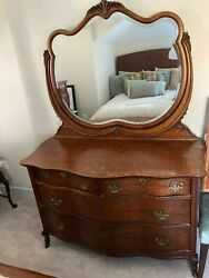 Gorgeous Vintage/antique 1900and039s Burled Oak Dresser With Swing Mirror