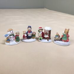 4 Forest Friends Mice Mouse Family Mini Figurines Avon Gift Collection Christmas