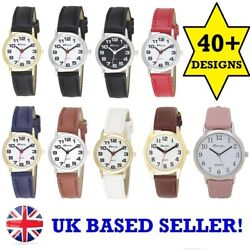 New Ravel Ladies Womenand039s Quartz Watch Easy To Read Big Numbers Black Gold Silver