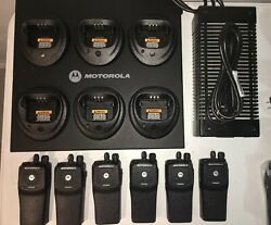 6 Motorola Pr400 Uhf 16 Channel Two-way Radios With New Accessories Lot C
