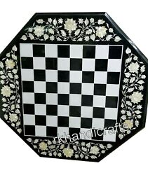27 Inches Marble Game Table Top With Check Pattern Coffee Table Top With Mop Art