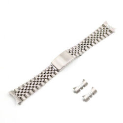 19mm Silver Stainless Steel Hollow Curved Vintage Jubilee Bracelet Watch Band