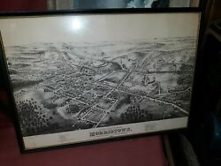 Old Or Antique Morristown New Jersey Birdseye View Map Print Lithograph