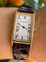 And Co Watch L243 Quartz Solid Gold 18k 750 Rectangular Lady Swiss Made