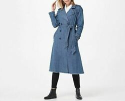 Laurie Felt Classic Denim Houndstooth Trench Coat