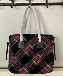 NWT Dooney amp; Bourke Tartan Plaid Victoria Carryall Tote Black RP $178 $131.10