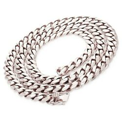 14k White Gold Solid Heavy Miami Cuban Chain Necklace 24 10mm 172 Grams