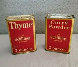 Vintage Schilling Brand Spice Tins Curry And Thyme