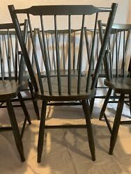 Modern Farmhouse Hitchcock Vintage Chairs Set Of 6 With Joanna Gaines Grey Paint