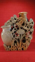 Antique Large Rare Double Vase Hand Carved Chinese Soapstone Floral Sculpture