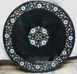 Round Marble Coffee Table Top Intricate Work Lawn Table Multi Gemstones Inlaid