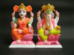 6.5 Inches Marble Lord Laxmi Ganesha Statue Hand Painted Can Use For Temple