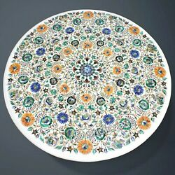 42 Inches Marble Dinning Table Top Inlay Hallway Table With Multi Gemstones Art