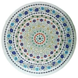 Hand Inlaid With Multi Gemstones Art Dinning Table Top Marble Hall Table 42 Inch
