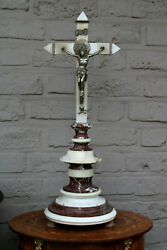 Large Antique French 1930 Marble Crucifix Cross Religious