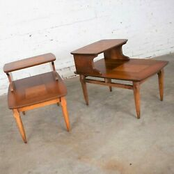 Mid Century Modern Pair Lane Step End Tables With Inlaid Walnut Burl Style 1927
