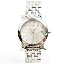 Hermes Heure H Quartz Stainless Steel Womenand039s Dress Watch Rondo Hr 1.510 Used