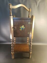 Vintage Mid-century Wooden Smoking Stand Table Smoke Stand Rustic