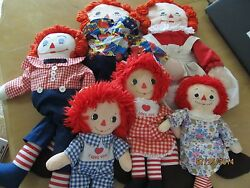 Raggedy Anne And Andy Dolls - Vintage - Knickerbocker . Quantity 6