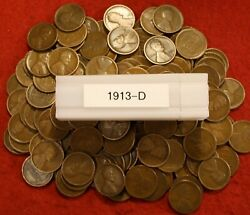 1913-d Lincoln Wheat Cent Penny 50 Coin Roll Great Collector Coins Gift