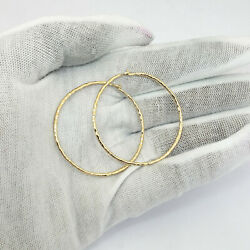 Solid 18k Yellow Gold Hoop Earrings Hammered 1.6 Faceted 5.2 Grams