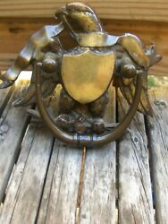 Antique Heavy Solid Brass Door Knocker American Eagle And Shield Federal Style