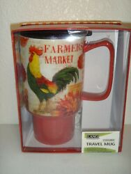 Lang Ceramic Travel Coffee Mug Cup Red Rooster Farmers Market 18 Oz + Gift Box