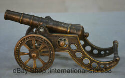 10.4 Old Chinese Copper Dynasty Palace Word Wheel Cannon Artillery Statue