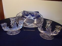 Fostoria Navarre 14 1/2 Oval Flame Bowl And Tw0 Triple Candle Holders