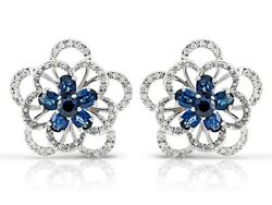 Sapphires 1.40ct. And Diamonds 1.00ct. Preowned Flower Earrings 18k. White Gold