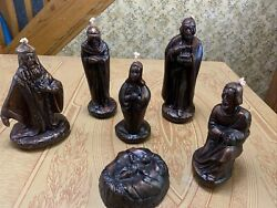 6 Pc Copper And Black Candle Nativity Set, 3 Wiseman, Mary, Joseph And Baby Jesus