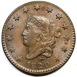 1820 N-8 R-3 Sm Date Matron Or Coronet Head Large Cent Coin 1c
